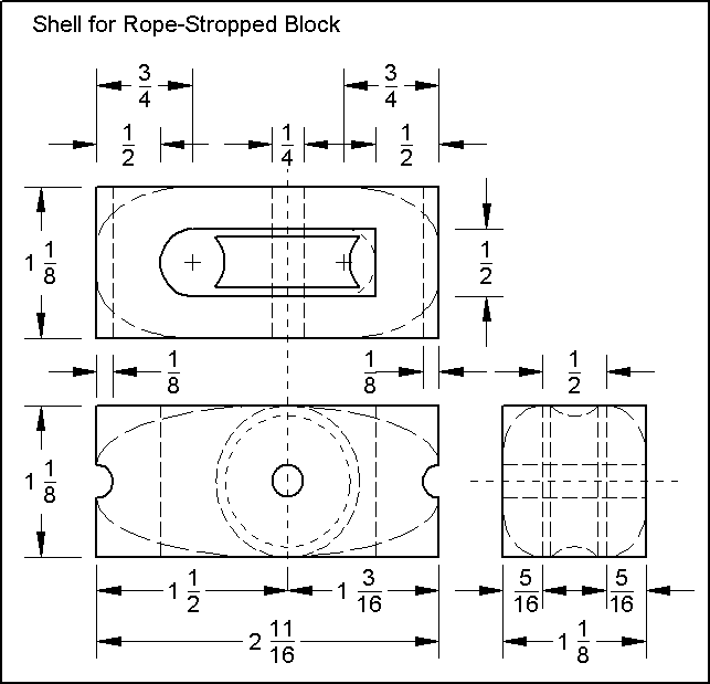 Design drawing for rope-stropped wooden blocks