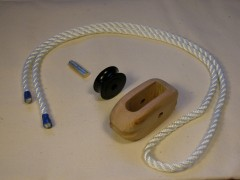 Parts for rope-stropped wooden block