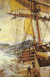 The Rising Wind, painting by Montague Dawson