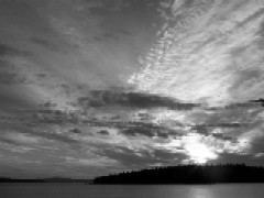 Big Sky over Piers BW
